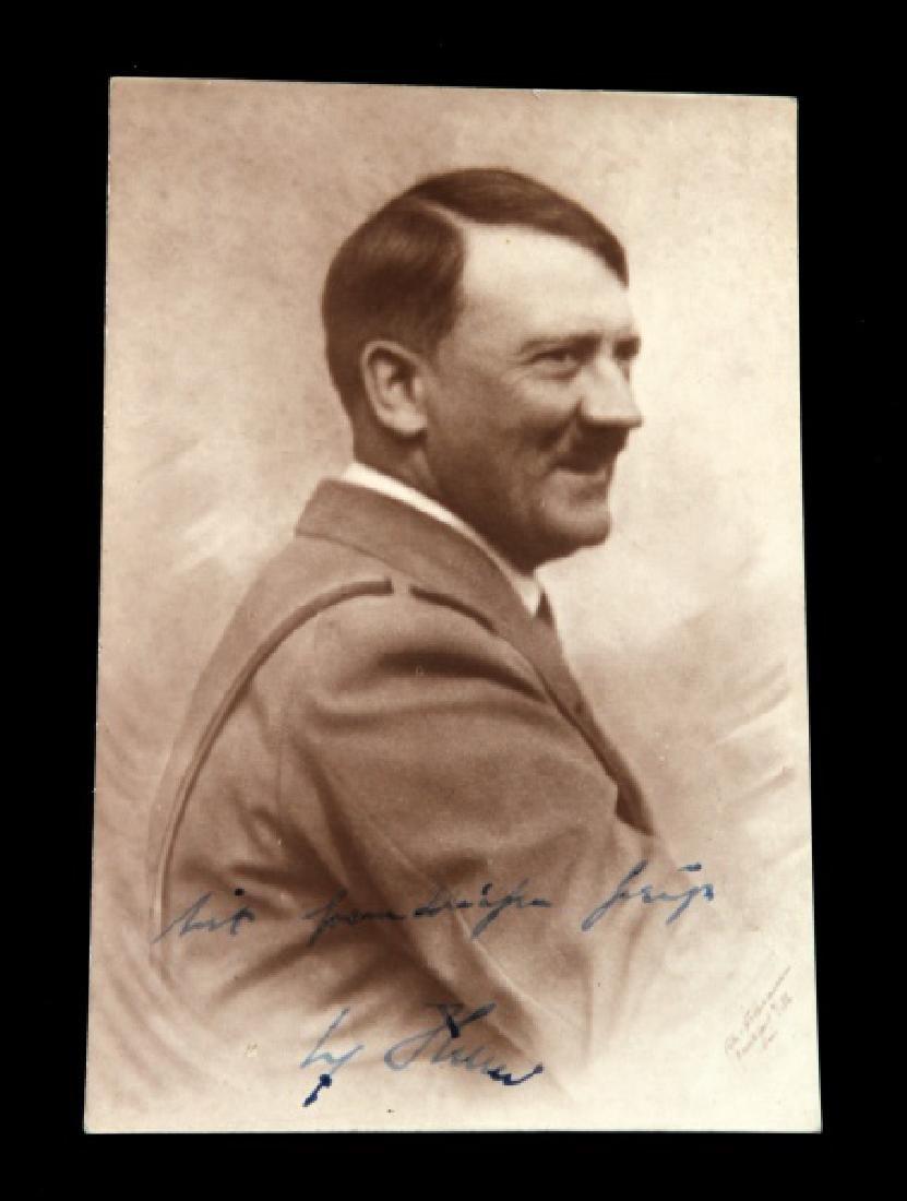 WWII GERMAN 3RD REICH SIGNED ADOLF HITLER POSTCARD