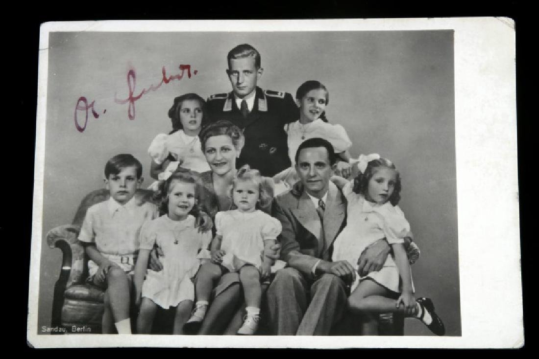 WWII GERMAN 3RD REICH SIGNED GOEBBELS FAMILY PHOTO