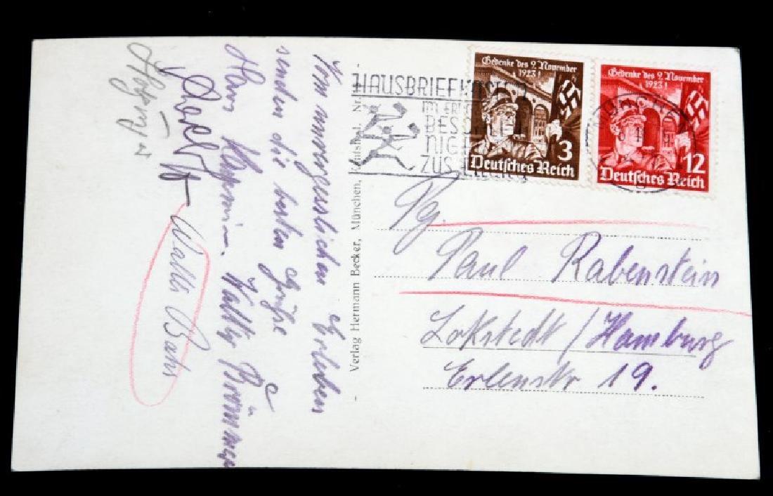 WWII GERMAN 3RD REICH SIGNED ADOLF HITLER POSTCARD - 3