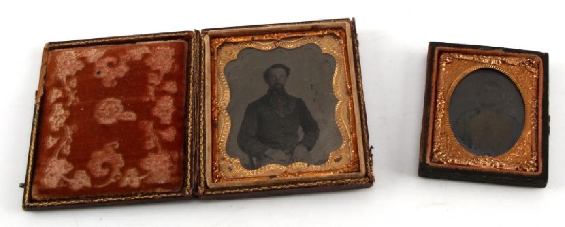 2 CONFEDERATE SOLDIER TINTYPE  DAGUERREOTYPE PHOTO
