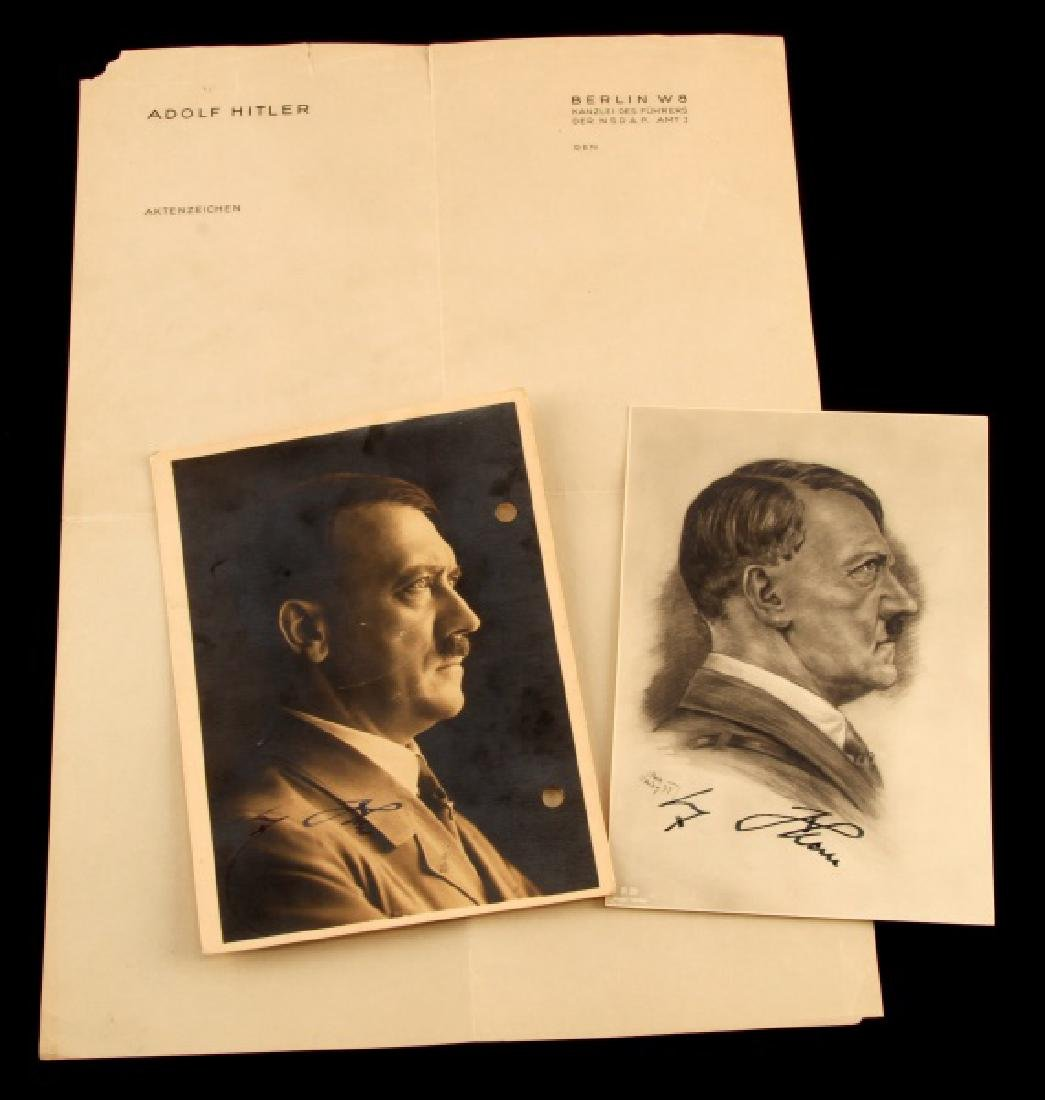 PAIR OF SIGNED PORTRAITS OF FUHRER WITH LETTERHEAD