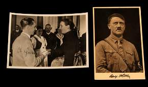 PAIR OF WWII NSDAP HITLER & GOEBBELS SIGNED PHOTOS
