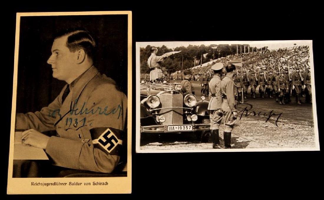 PAIR OF SIGNED RUDOLPH HESS & VON SCHIRACH PHOTOS