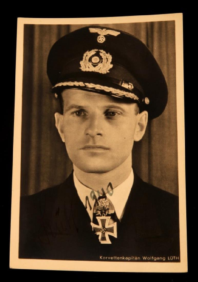 KRIEGSMARINE ACE WOLFGANG LUTH SIGNED PHOTOGRAPH