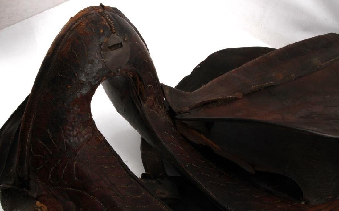 ANTIQUE FRONTIER ERA DECORATED LEATHER SADDLE - 2