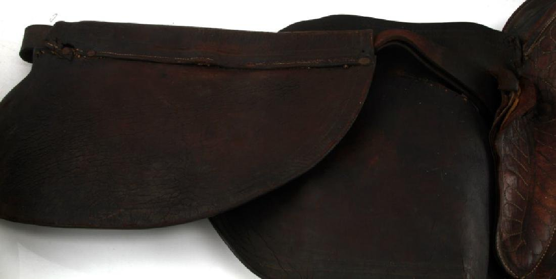 ANTIQUE FRONTIER ERA DECORATED LEATHER SADDLE - 5