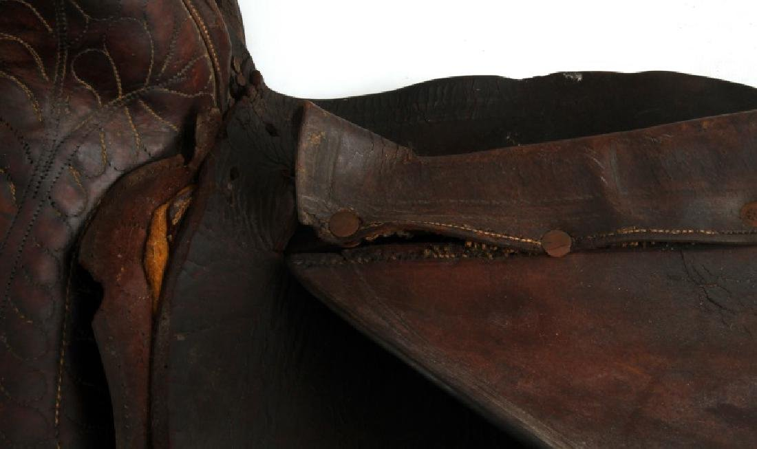 ANTIQUE FRONTIER ERA DECORATED LEATHER SADDLE - 6