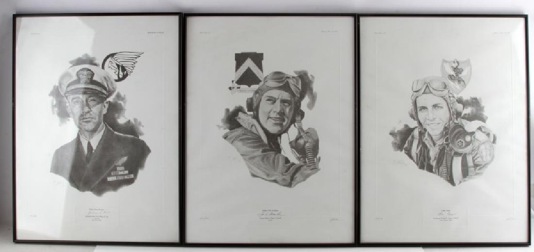 WWII US ARMY AIR CORP & FORCE OFFICER SIGNED PRINT