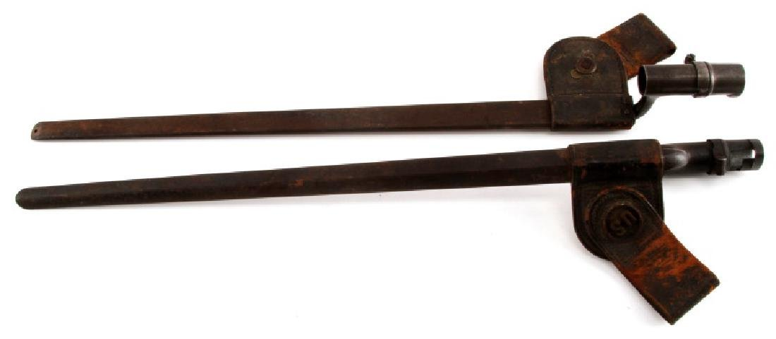 2 INDIAN WARS M1873 SOCKET BAYONETS W SCABBARDS