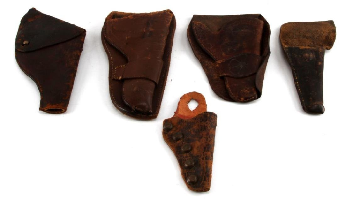 5 ANTIQUE LEATHER HOLSTER LOT OF 5 W SINGLE ACTION