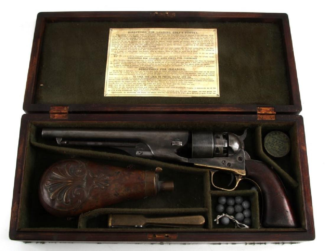 COLT MODEL 1860 ARMY 44CAL REVOLVER W CASE & MORE
