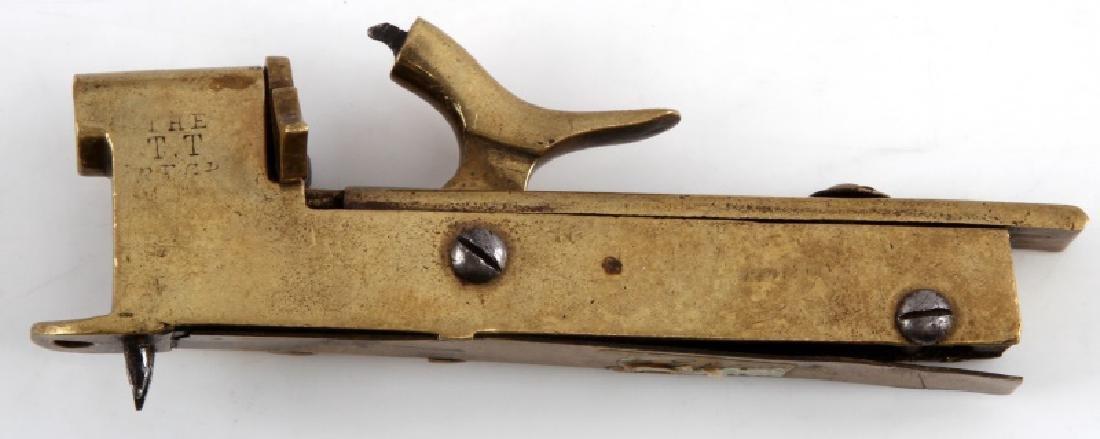19TH C. BRASS DOORSTOP PERCUSSION ALARM GUN