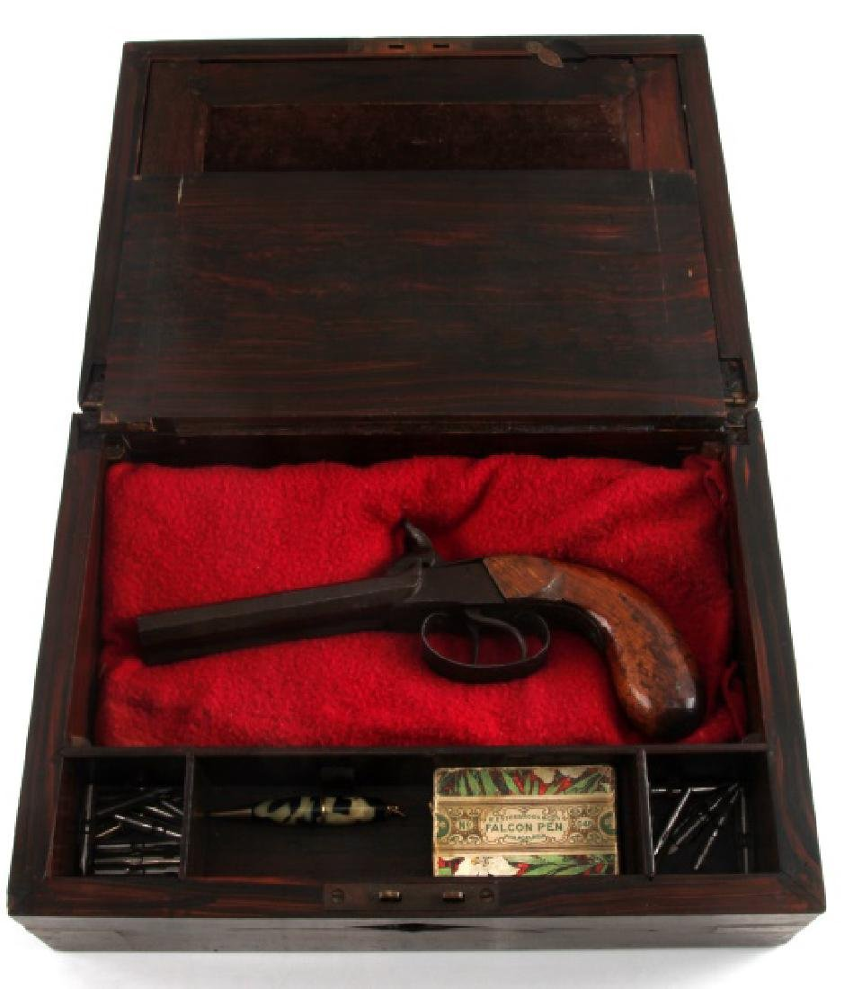 ANTIQUE WRITING SLOPE W PERCUSSION PISTOL IN SLOT