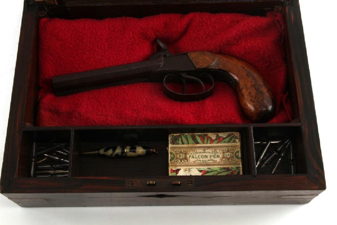 ANTIQUE WRITING SLOPE W PERCUSSION PISTOL IN SLOT - 2