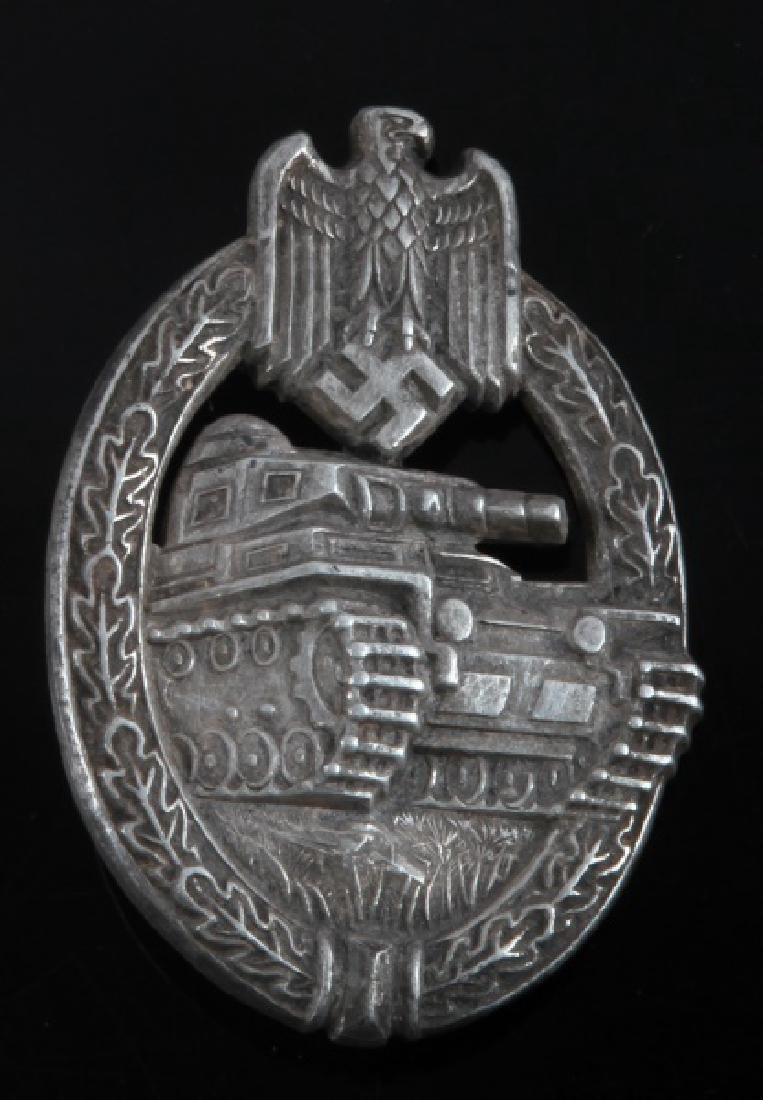WWII GERMAN 3RD REICH SILVER PANZER ASSAULT BADGE