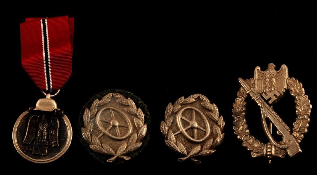 WWII GERMAN THIRD REICH MEDAL AND BADGE LOT OF 4