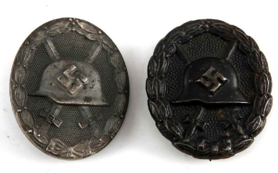 2 GERMAN WWII WOUND BADGES SILVER BRONZE