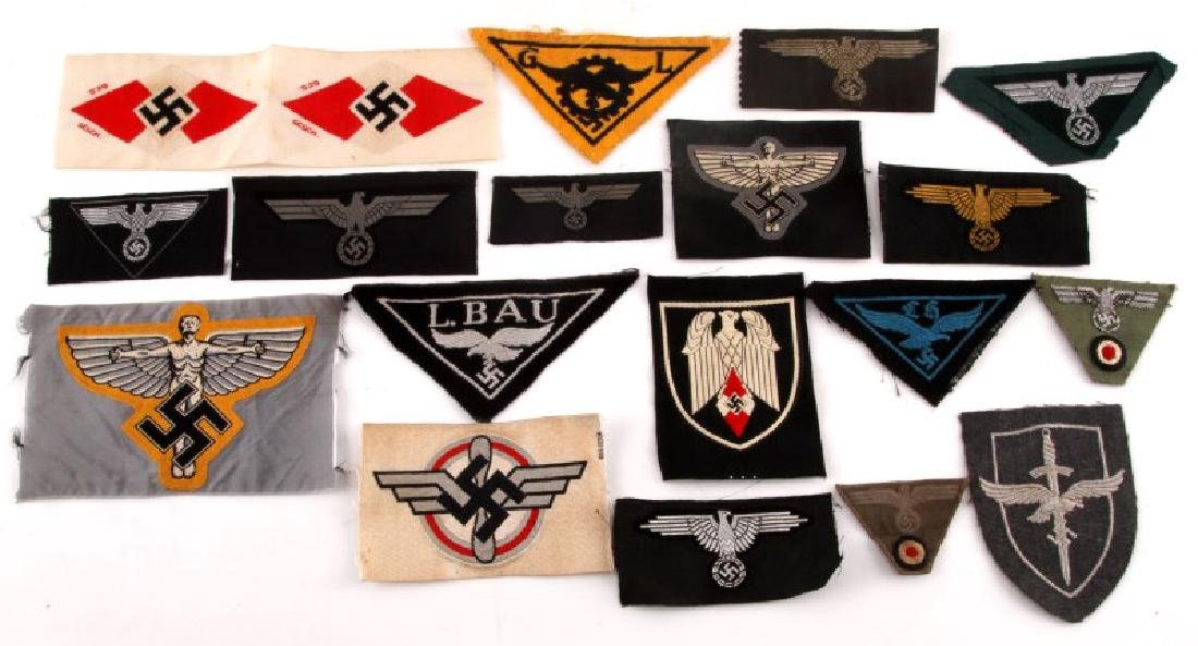 18 GERMAN WWII PATCHES LUFTWAFFE HEER NSFK JUGEND