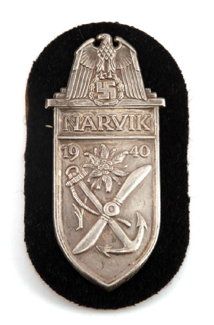 WWII GERMAN THIRD REICH NARVIK SHIELD IN SILVER
