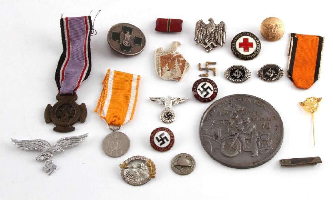 LOT OF GERMAN WWII MEDALS PINS TINNIES BADGES MORE