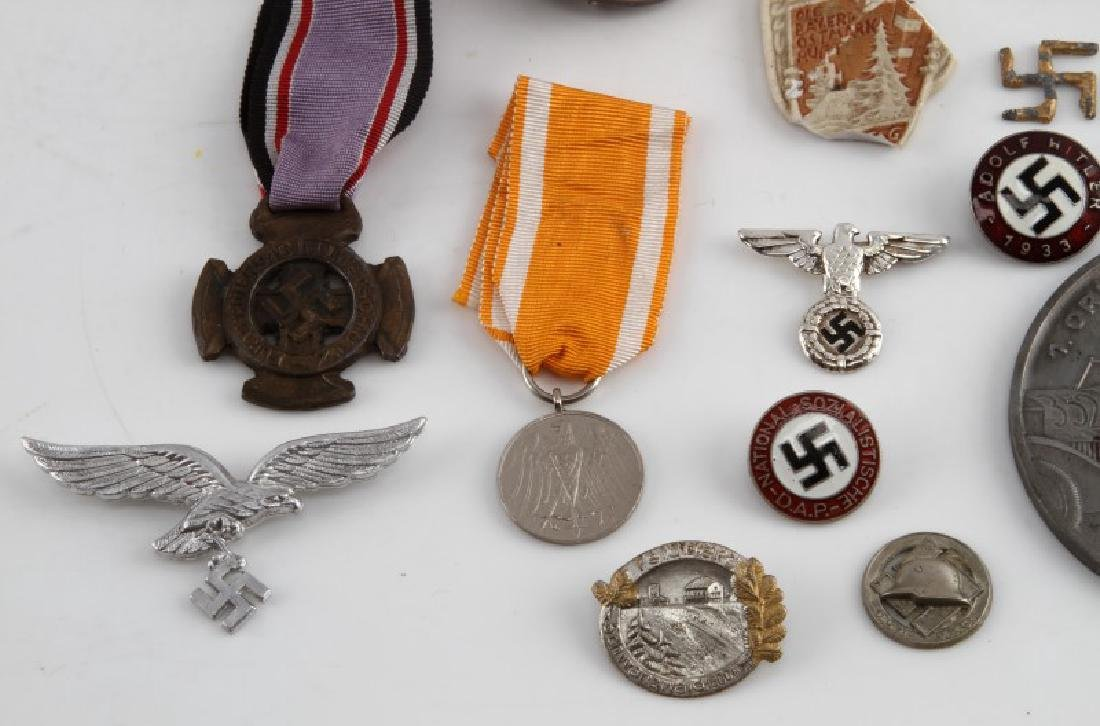 LOT OF GERMAN WWII MEDALS PINS TINNIES BADGES MORE - 2