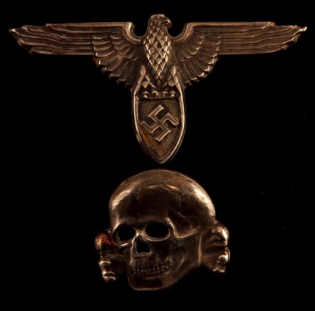 GERMAN WAFFEN SS CAP SET .800 SILVER SUDENTENLAND