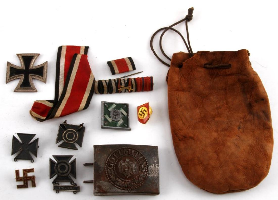 GERMAN WWII MIXED LOT IRON CROSS MEDALS BUCKLE