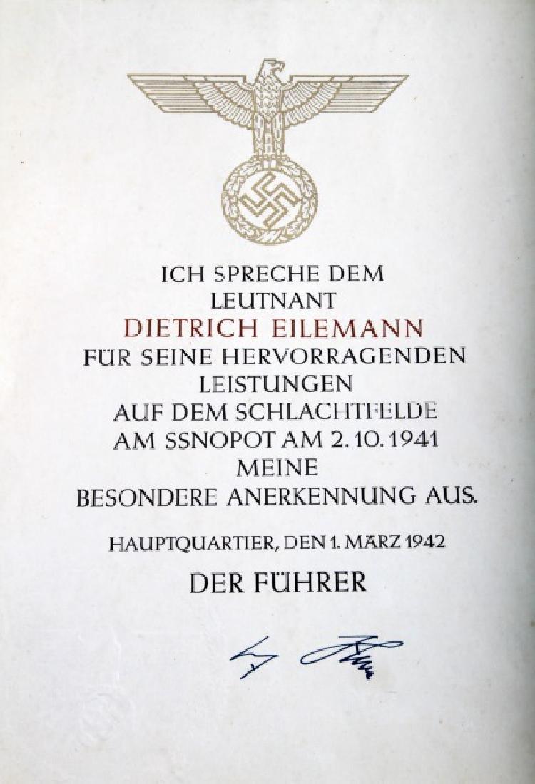 WWII GERMAN THIRD REICH COMMENDATION DOCUMENT LOT - 3