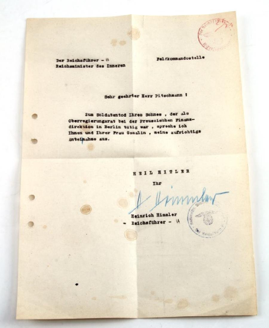 WWII GERMAN THIRD REICH HIMMLER SIGNED LETTER