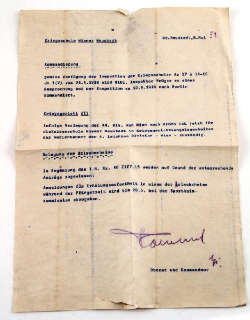 PRE WWII GERMAN THIRD REICH ROMMEL SIGNED LETTER