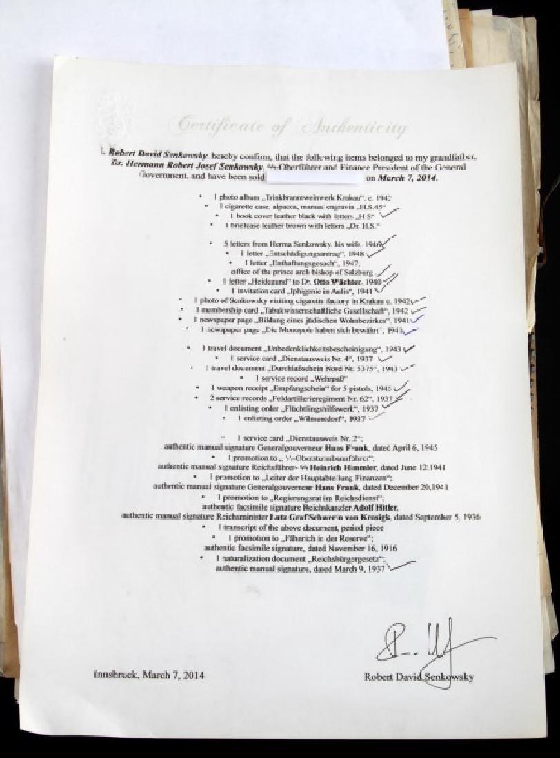 DR. HERMANN SENKOWSKY SS OBERFUHRER DOCUMENTS