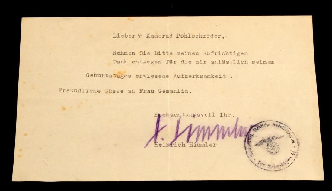 WWII GERMAN THIRD REICH H. HIMMLER SIGNED LETTER