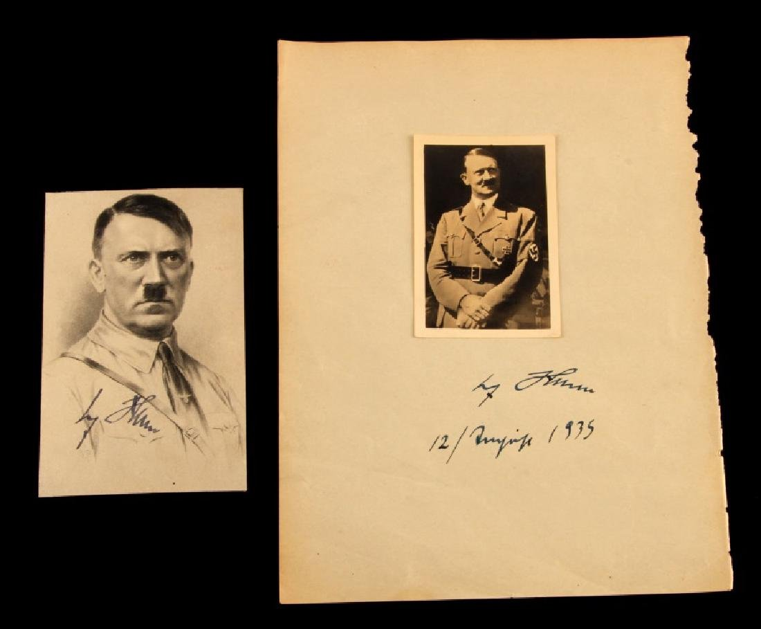 2 HITLER SIGNED PHOTOGRAPHS DATED GERMAN WWII