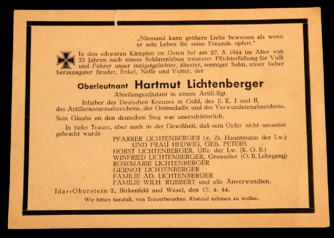 WWII GERMAN GOLD CROSS RECIPIENT DEATH CARD