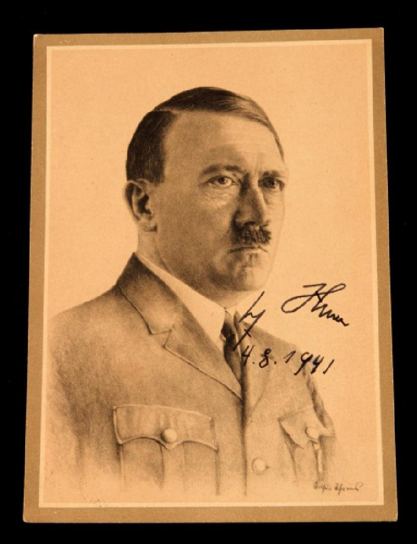 WWII 1941 ADOLF HITLER SIGNED POSTCARD