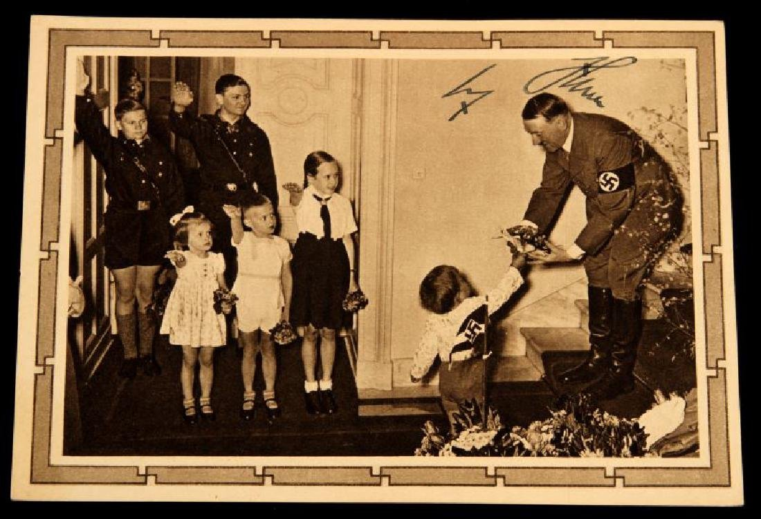 WWII 1939 SIGNED ADOLF HITLER JUGEND POSTCARD