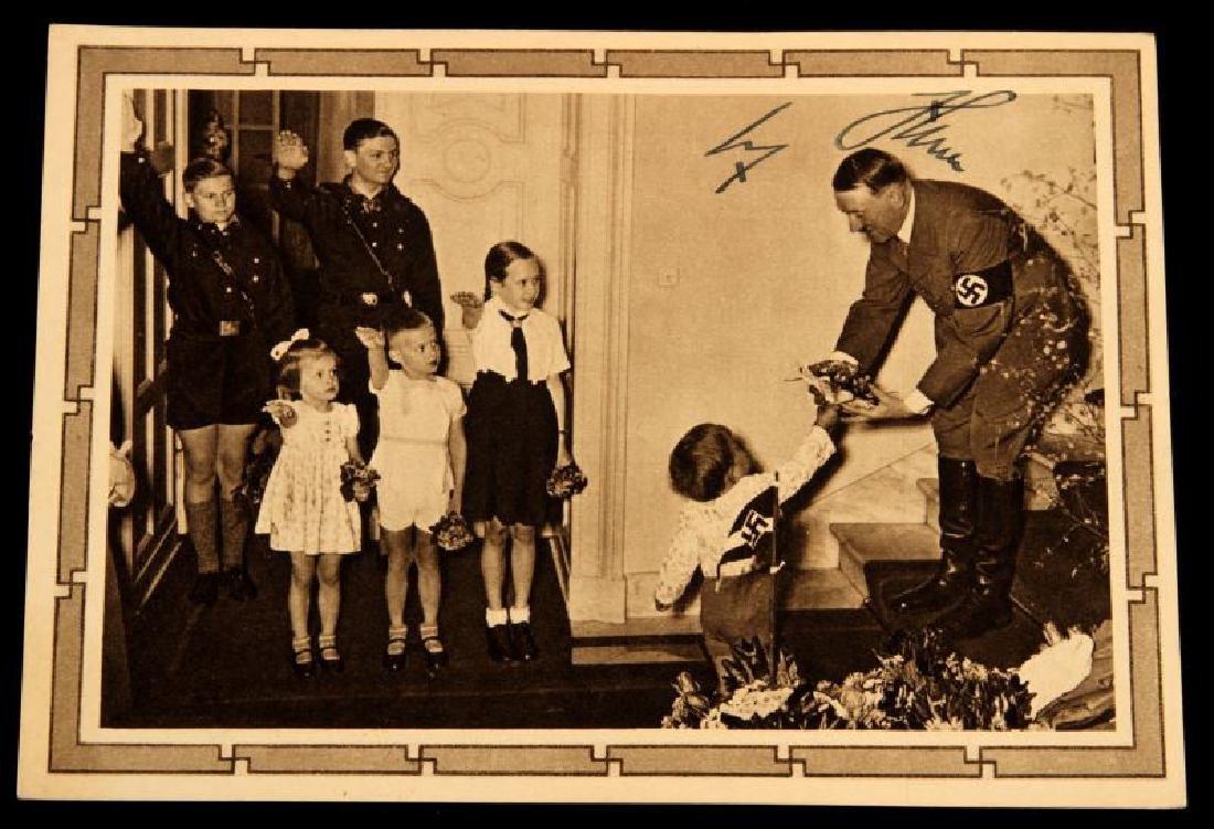 WWII 1939 SIGNED ADOLF HITLER JUGEND POSTCARD