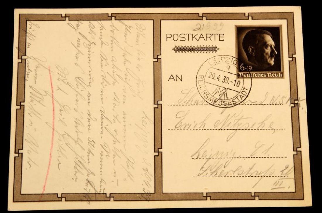 WWII 1939 SIGNED ADOLF HITLER JUGEND POSTCARD - 3