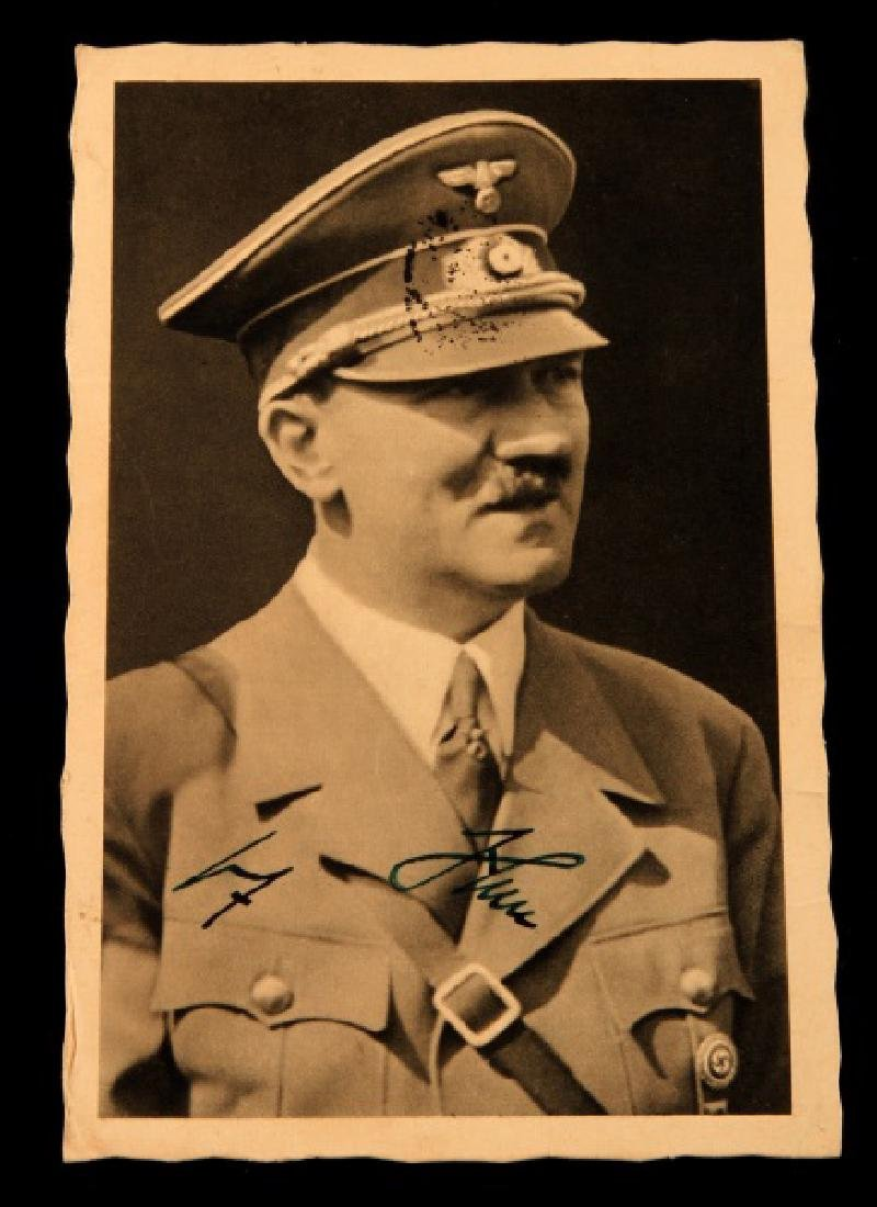 WWII GERMAN ADOLF HITLER SIGNED POSTCARD WITH POST