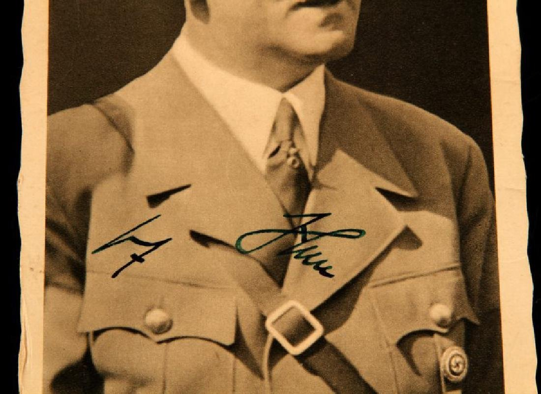 WWII GERMAN ADOLF HITLER SIGNED POSTCARD WITH POST - 2
