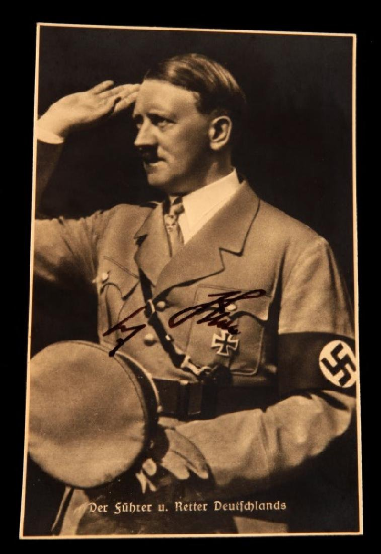 WWII GERMAN ADOLF HITLER SIGNED AUTOGRAPH POSTCARD
