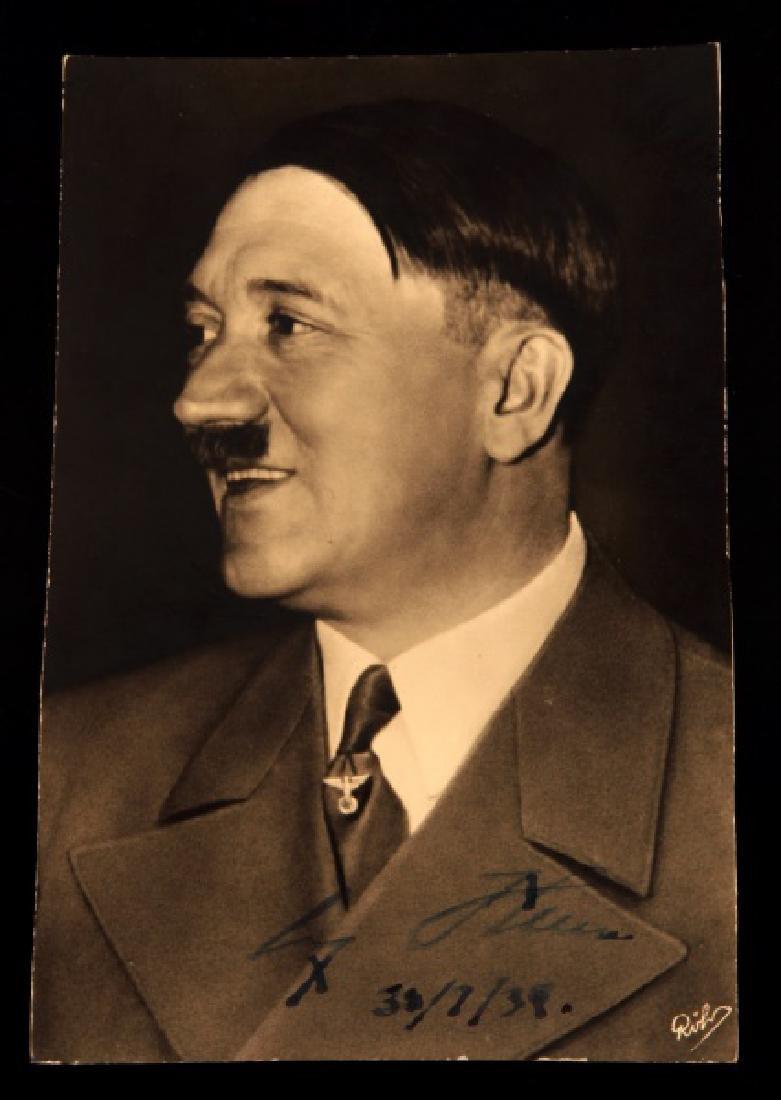 WWII GERMANY ADOLF HITLER AUTOGRAPHED POSTCARD