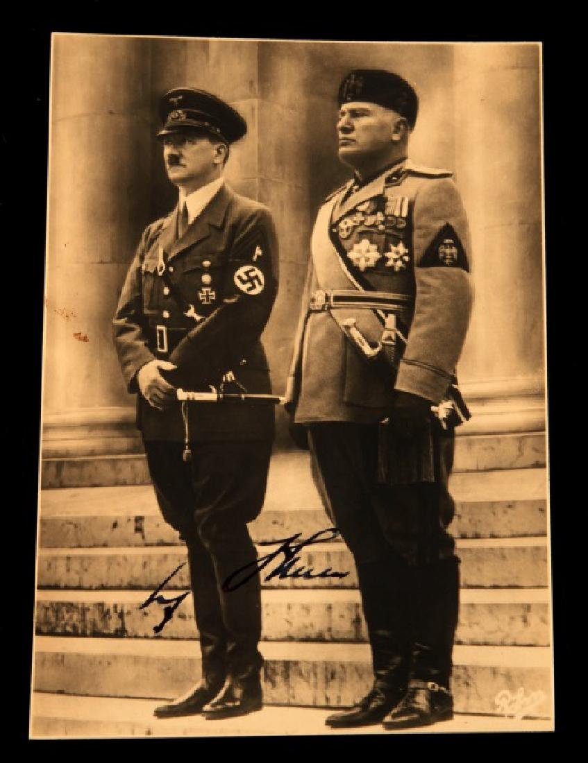 WWII ADOLF HITLER W MUSSOLINI AUTOGRAPHED POSTCARD