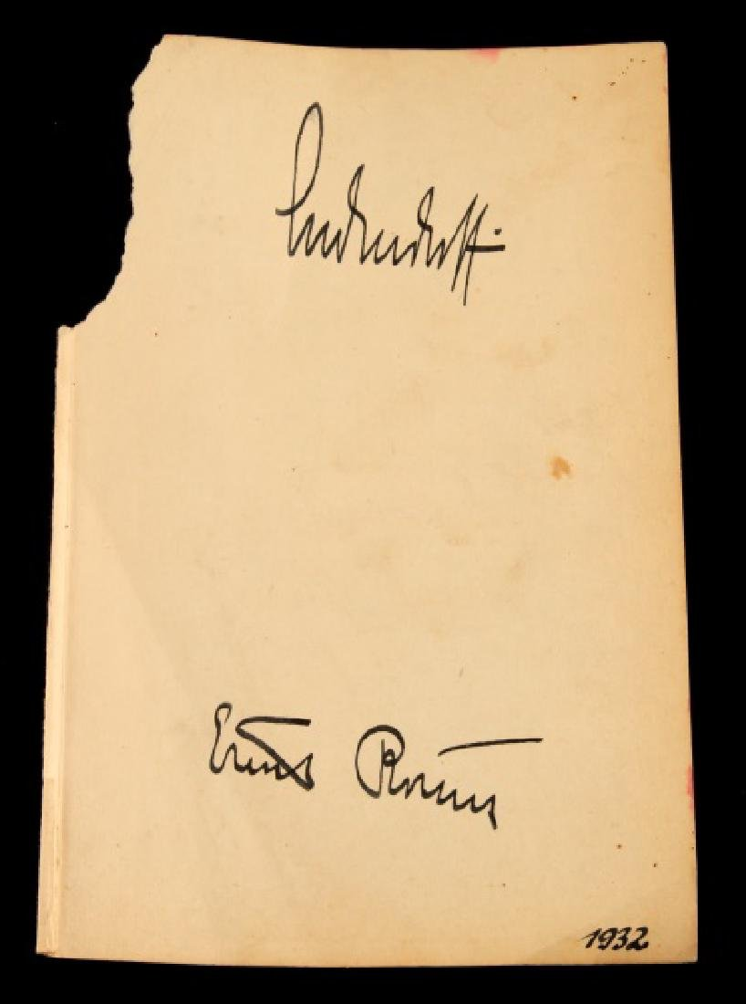 WWII GENERAL LUDENDORF & ERNST ROHM SIGNED PAGE
