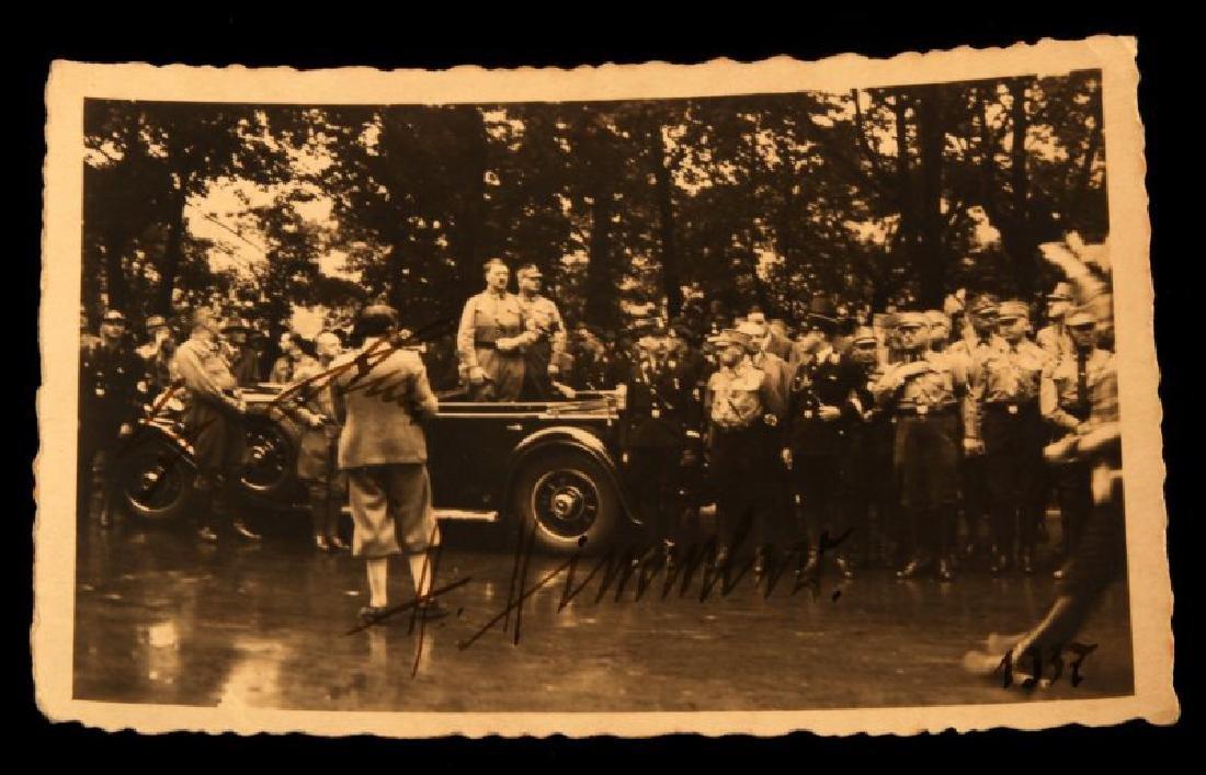 WWII GERMAN HITLER & HIMMLER SIGNED 1937 POSTCARD