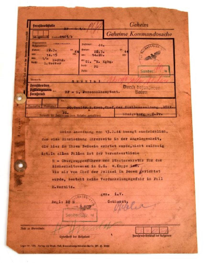 WWII GERMAN THIRD REICH SS DOCUMENT SIGNED HIMMLER