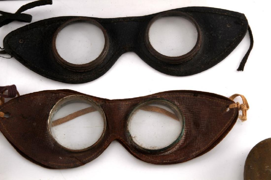 8 PIECE LOT OF ANTIQUE DRIVING & AVIATION GOGGLES - 4