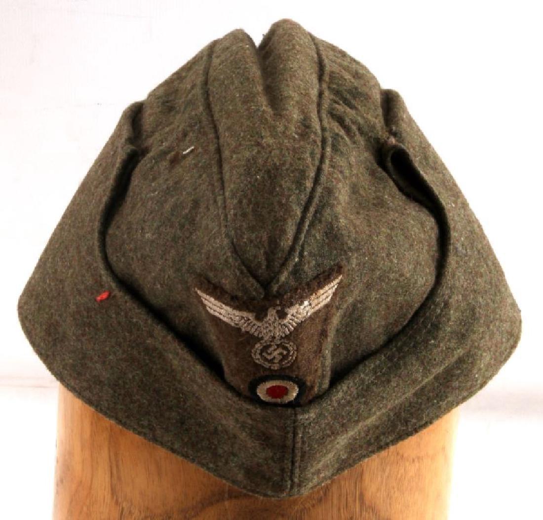 WWII GERMAN THIRD REICH WEHRMACHT OLIVE SIDE CAP