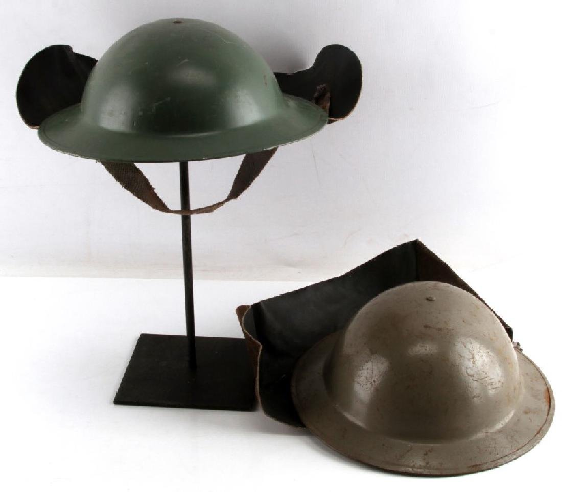 LOT OF 2 WWII BRODIE MKII FIREFIGHTER HELMET