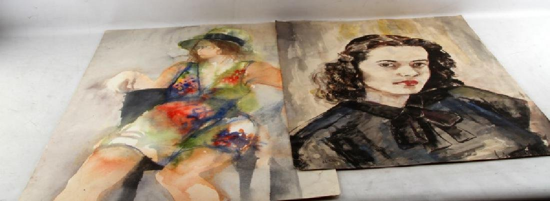 WATERCOLOR ON PAPER PAINTING OF WOMAN LOT